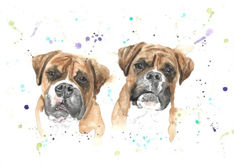 Katie Louise Art two dogs